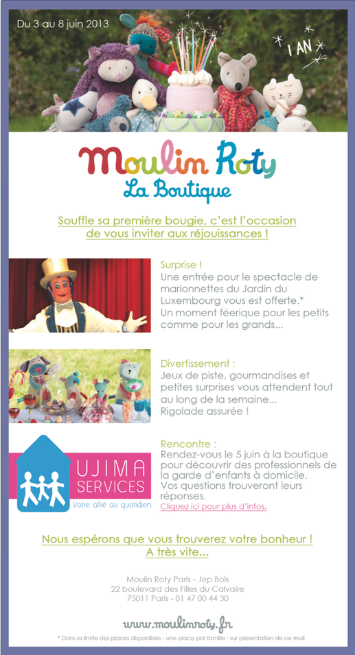 Programme 1 an boutique Moulin Roty