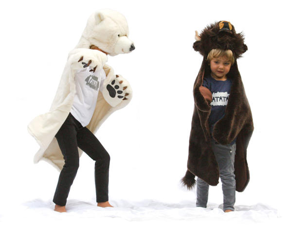 polar bear or tiger in super soft fur! easy to wear and also