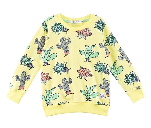 Indikidual Yellow Cactus Print Sweatshirt