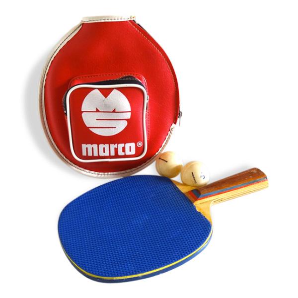 Raquette de ping-pong vintage et son étui en cuir