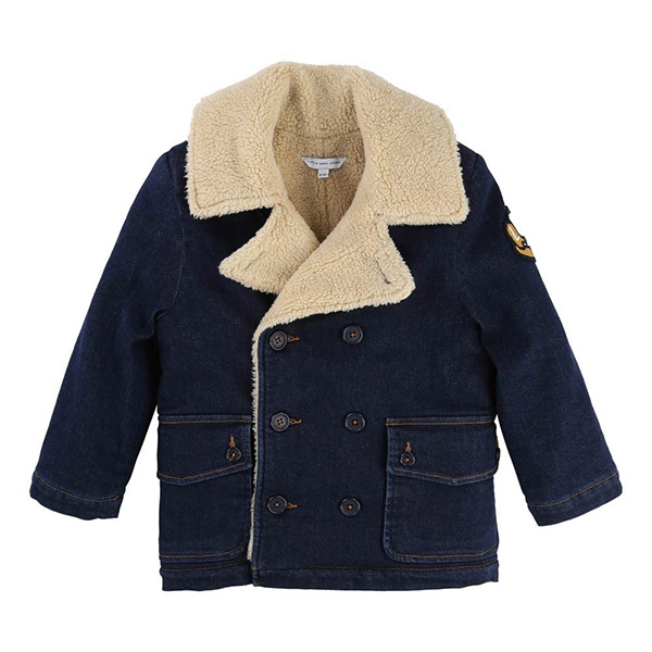 LITTLE MARC JACOBS Faux Fur Reefer Jacket Denim