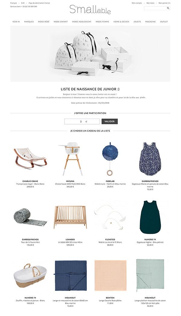 Idée Cadeau Liste De Naissance NEW: Créer votre liste de cadeaux chez SMALLable