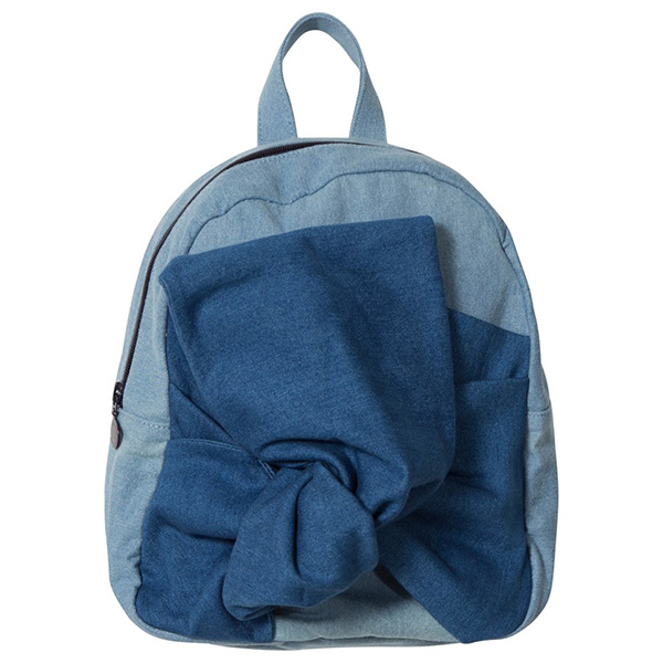 Stella McCartney Kids Blue Denim Blair Bow Backpack